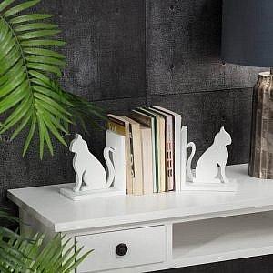 Komplet podporek do ksiazek Cats White  300x300 - Podpórki do książek